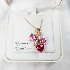 925 Sterling Silver Pink Topaz Heart Necklace